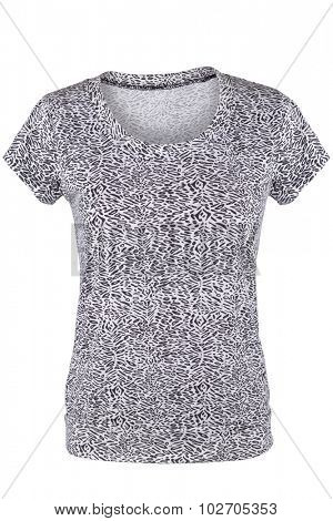 Female t-shirt with black and white pattern, isolated on white