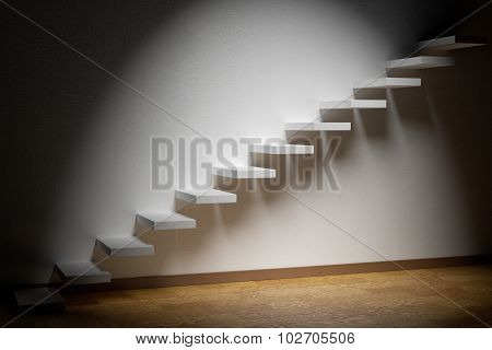 Ascending Stairs Of Rising Staircase In Dark Empty Room With Spot Light And Parquet Floor