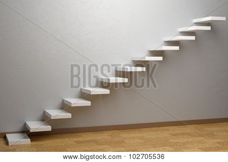Ascending Stairs Of Rising Staircase In Empty Room With Parquet Floor And Plinth 3D Illustration