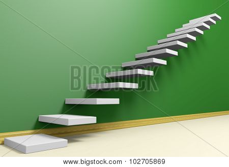 Ascending Stairs Of Rising Staircase In Green Empty Room With Beige Floor