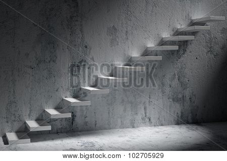 Ascending Stairs Of Rising Staircase In Dark Rough Empty Room With Light 3D Illustration