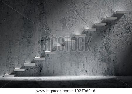Ascending Stairs Of Rising Staircase In Rough Dark Empty Room With Light 3D Illustration