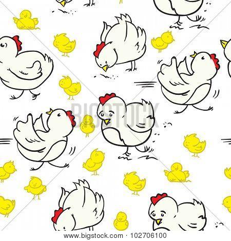 cartoon chicken seamless pattern