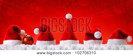 Red  Christmas hats.