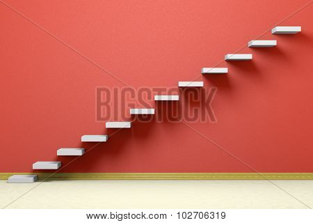 Ascending Stairs Of Rising Staircase In Red Empty Room With Beige Floor 3D Illustration