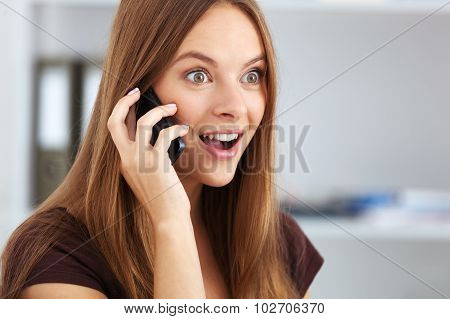 Portrait Of Young Business Woman Talking On Phone.