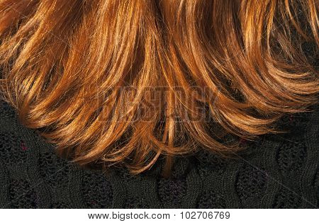 Red Hair Texture And Black Blouse.