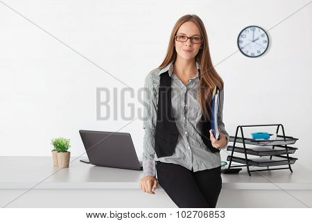 Portrait Of Young Beautiful Business Woman.
