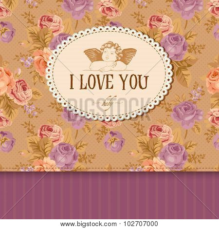 Vintage card with roses in the background and Cupid.