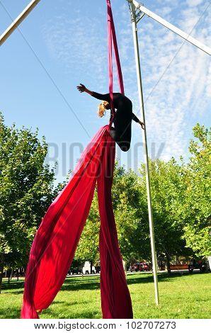 Cheerful Child Training On Aerial Silks