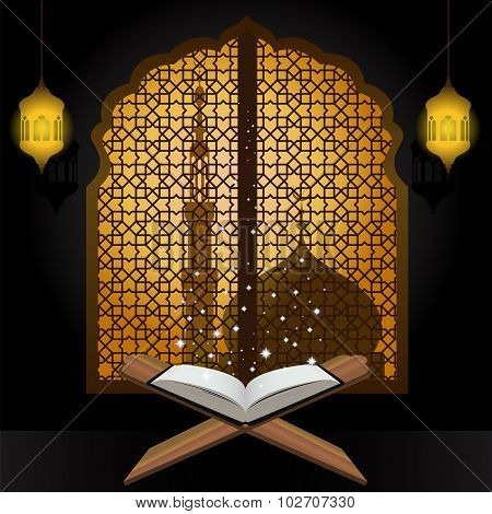 Quran light star lantern and mosque in window arabic
