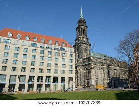 View Towards Kramergasse With Kreuzkirche Church In Dresden, Saxony, Germany.
