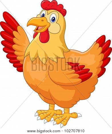 Chicken hen waving hand