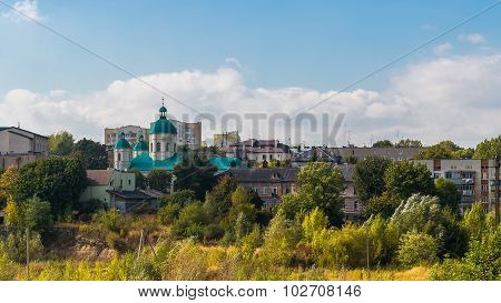Small church surrounded by soviet buildings, Lviv Ukraine