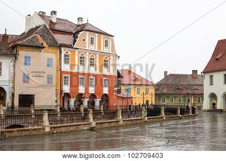Bridge of Lies and Houses with famous eye-shaped windows in Sibiu, Transylvania, Romania