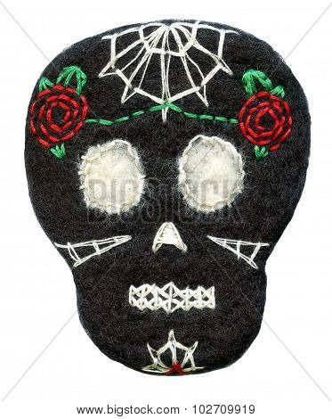Sugar skull. Handmade naive Day of the Dead symbol.