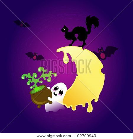 Little Smiling Ghost With Witch's Kettle With Green Potion On The Deep Purple And Violet Backgro