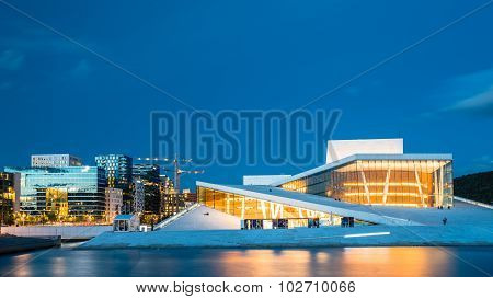 Night View of The Oslo Opera House Is The Home Of The Norwegian