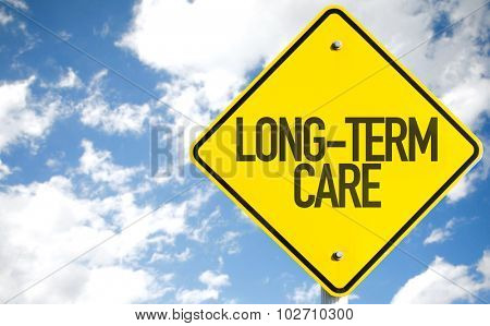 Long-Term Care sign with sky background