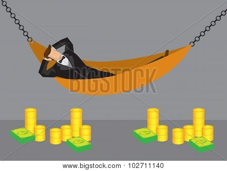 Rich Man Resting In Hammock Vector Cartoon Illustration
