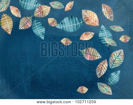 Autumn Romantic Illustration Of Falling Hand Drawn Leaves.