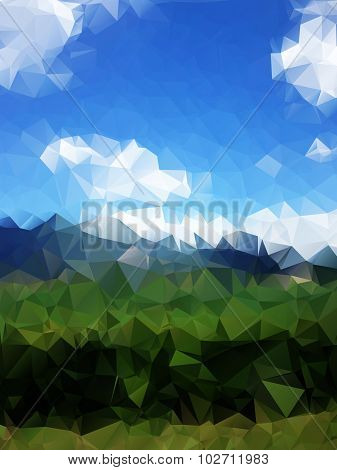 Abstract Polygonal Landscape Background With Gray Mountains, Clouds, Blue Sky And Deep Green Forest.