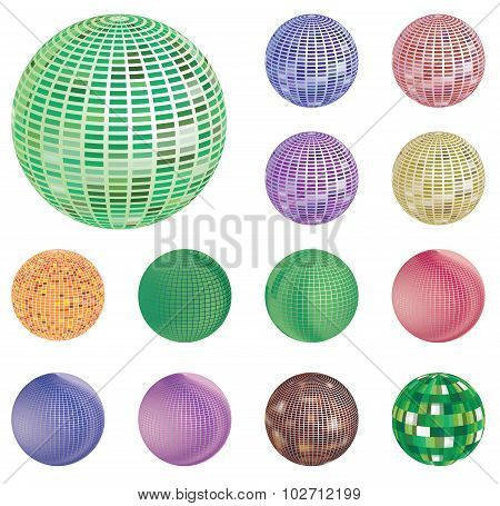 Set Of Colorful Mirror, Mosaic Disco Ball. Illustration Isolated On White Background.