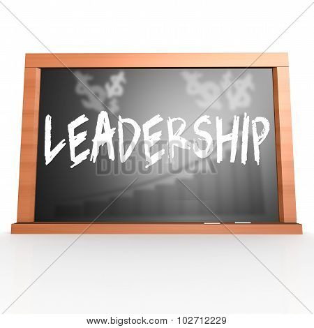 Black Board With Leadership Word