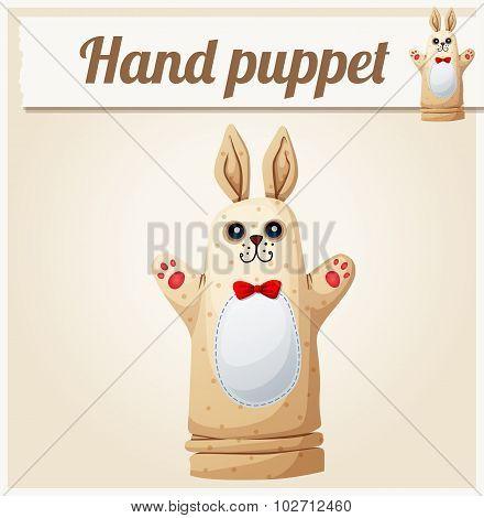 Hand Puppet Rabbit. Cartoon vector illustration. Series of children's toys