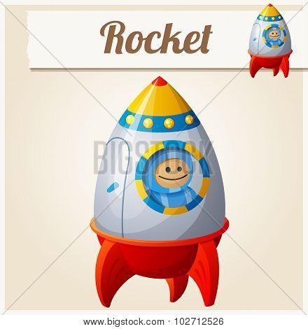 Toy rocket. Cartoon vector illustration. Series of children's toys
