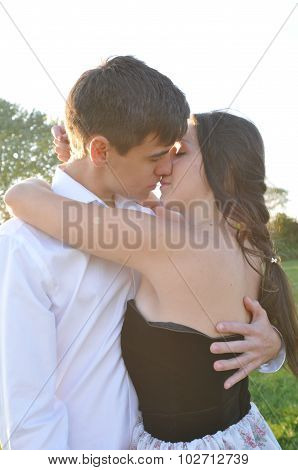 Loving couple outdoor portrait
