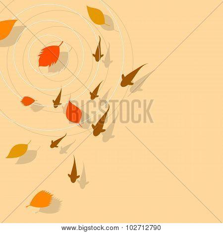 Autumn leaves and Koi fish