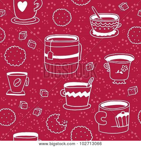 Seamless Pattern With Hand Drawn Cups, Cookies And Sugar