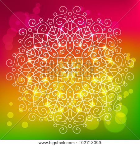 Abstract Bright Background With A Round Mandala Ornament, Sparkles And Bokeh