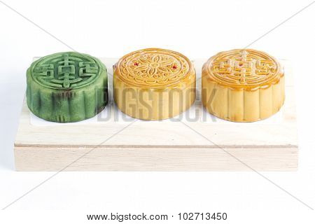 Moon Cake On Wooden Tray