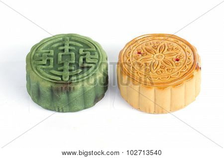 Moon Cake Green Tea And Durian Filling On White Background