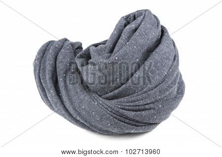Folded Gray Neck Scarf Isolated On White Background