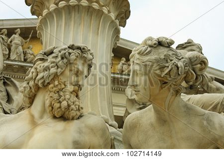 Vienna, Austrian Parliament And Sculpture Of Mythological Beings