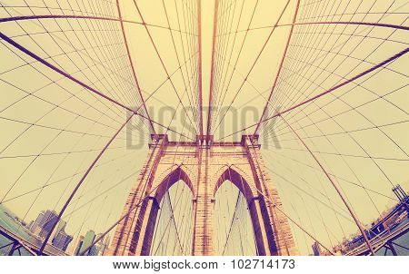 Vintage Filtered Fisheye Picture Of Brooklyn Bridge, Nyc.