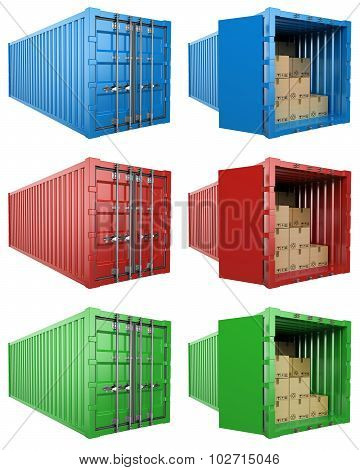 3D Open And Close Container With Cardboard Boxes