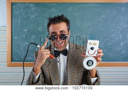 Nerd electronics technician silly retro teacher welding self made robot