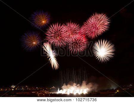 ireworks explosion close up in dark background, Fireworks background. Holidays.Fireworks festival.Li