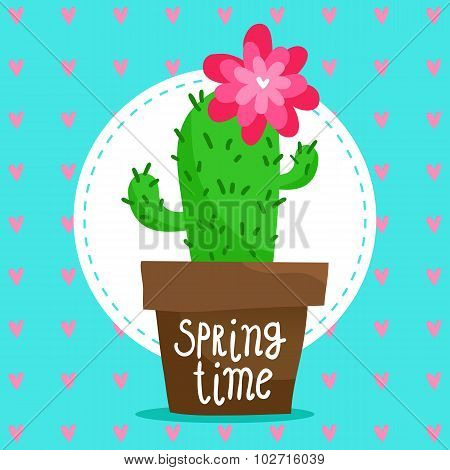 Card Background With Blooming Cactus