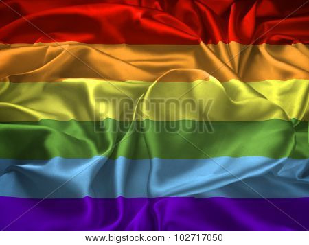 Gay Pride Flag And Heart
