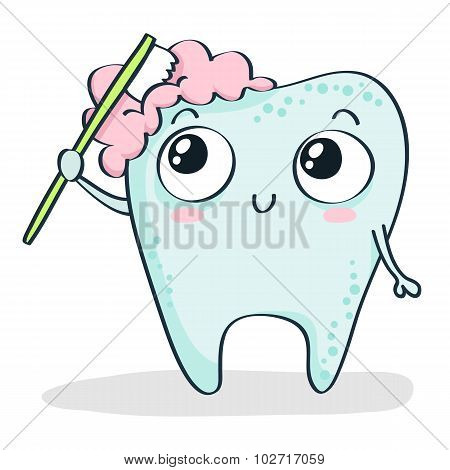 Cartoon Tooth Brushing Itself Isolated On White