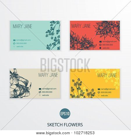 Set of business cards design with  flowers in flat style, vector illustration.