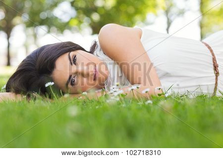 Portrait of beautiful young woman relaxing on grassland in park