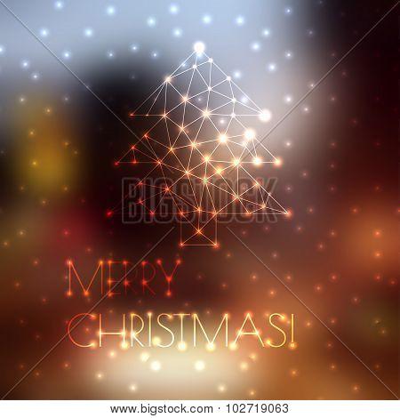 Christmas tree on blurred