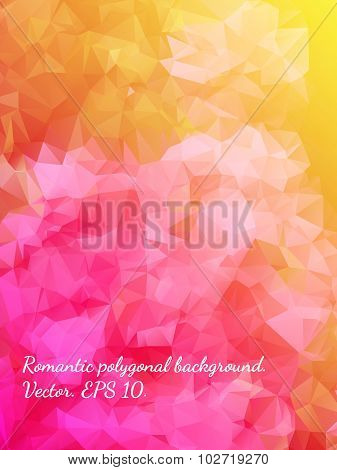 Bright And Colorful Romantic Tender Polygonal Abstract Floral Background With Pink Flowers. Best Sui