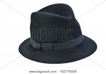 Black Fedora Hat Isolated On White